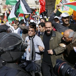 Palestinians demonstrate for the 20th anniversary of closing Al-Shuhada' St. in Hebron